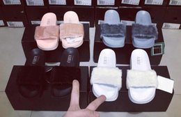 Wholesale Hot Rihanna Leadcat Fenty Faux Fur Slide Sandal RIHANNA LEADCAT FENTY Slipper Fashions Women Fenty Slippers Black Slide Sandals Fenty Slides