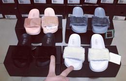Wholesale Hot Rihanna Leadcat Fenty Faux Fur Slide Sandal RIHANNA LEADCAT FENTY Slipper Fashions Women Fenty Slippers Black Slide Sandals Fenty Slides