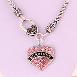 Drop Shipping New Arrival rhodium plated zinc studded with sparkling crystals SURVIVOR heart pendant wheat chain necklace