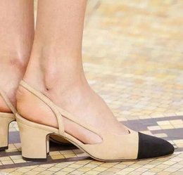 sale! b084 34 genuine leather slingback med heel sandals luxury classic c designer matched cap toe