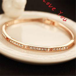 Hot Selling Brief Full Crystal Charm Bracelets Korean Gold Plated Brand Bracelets Fashion Vantage Jewelry Bracelets For Women