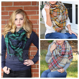 Wholesale Free Fedex Winter New Tartan Scarf Plaid Blanket Scarf New Designer Unisex Acrylic Basic Shawls Women s Scarves Big Size CM M219