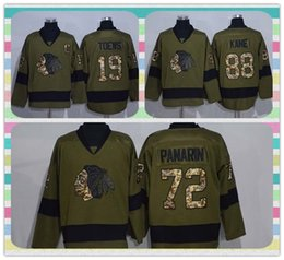 Wholesale New Product Ice Hockey Jersey Chicago Blackhawks Jonathan Toews Artemi Panarin Patrick kane Green Salute to Service Jerseys