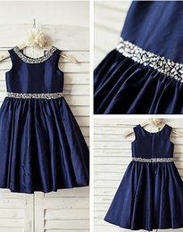 Wholesale 2016 Navy Blue Sequin Taffeta Flower Girl Dress Curly Hem Wedding Easter Junior Bridesmaid Baptism Baby Infant A line Knee length Dress