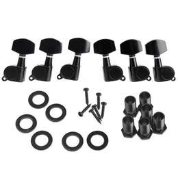 Wholesale 6pcs set Zinc Alloy Black Sealed Tuning Pegs Tuner Machine Head R L Electric Acoustic Guitar Parts