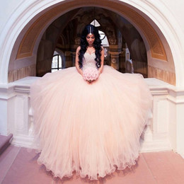 Modern Blush Arabic Wedding Dress Rhinestone Crystal Beaded Ball Gown Wedding Gowns Dubai Pink Bridal Dress Sweetheart vestido de noiva