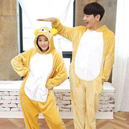 Wholesale Unisex Onesies kigurumi Pajamas Flannel Suit Adult Animal Cartoon Cup Bear Pajamas Women and Men Cute Cartoon House Pajama