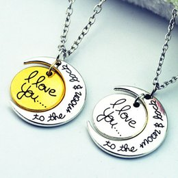 Wholesale I Love You To The Moon And Back Letters Pendant Necklaces For Family Jewelry Mom Sister Link Chain Necklace