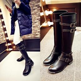 high quality~b089 34 black genuine leather stud belt knee high flat boots luxury designer inspired runway punk