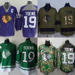 Hot Sale Mens New Fashion Chicago Blackhawks 19 Jonathan Toews Best Quality Cheap Purple Green Camo Ice Hockey Jerseys Accept Mix Order