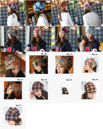 Wholesale 17 Patterns Women Fashion Bonnet Letters Leopard Print National Flag Plaid Cap Hat New Casual Spring Autumn Winter