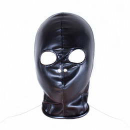 Wholesale Soft Leather Fetish Hoods - Open Eye Bondage Soft PU Leather Fetish Mask Hood Sex Toys For Couples Sex Products Erotic Sexy Mask Adult Games for Women Men