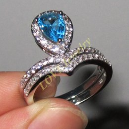 Womens 925 Silver Seed Shape Blue Aquamarine CZ Paved Wedding Ring Sets