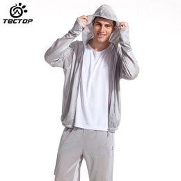 Camisa de potencia en venta-Ropa chaquetas de pesca mayor-TECTOP Marcas Nueva exterior de poliéster Capa para hombre de manga larga con capucha de protección solar UV de secado rápido para la pesca