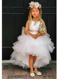 2016 New Cute Flower Girls Dresses For Wedding Jewel Neck Tulle Tiered Ruffles With Sashes Bow High Low Children Kids Party Communion Gowns