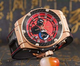 Wholesale New Style Hublo Quartz Watch Men Ceamic Case Red Big Dial Gold Skeleton Leather Band Big Bang Watch Montre Homme
