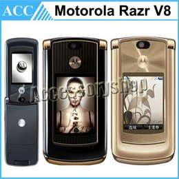 Wholesale Refurbished Original Motorola RAZR V8 Unlocked Mobile Phone inch MB or GB ROM GSM G Flip Cell Phone English Russian Arabic Keyboard