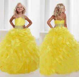 Robes de pagent perles en Ligne-2016 nouvelles filles une épaule robe de bal robes Pagent jaune Pleats étagées organza perles Jupettes Princesse Robes Robes formelles pour les filles
