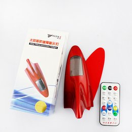 Wholesale New car antennas remote control solar flashing light car shark fin remote warning lamp anti collision light