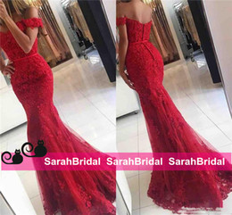 Wholesale 2017 New Red Lace Mermaid Prom Dresses veatidos off Shoulder Beaded Appliques Tulle Full Length Long African Evening Gowns Formal Party Wear