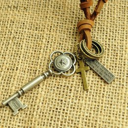 Wholesale New manufacturers selling han edition tide restoring ancient ways pentagram key alloy tags leather cord necklace jewelry fashion coll