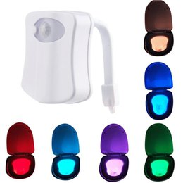 Wholesale 8 Colors Changing Body Motion Dection Sensor Automatic LED Light Toilet Bowl Lid Bathroom Seat Hanging Night Light Lamp