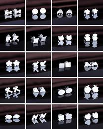 Wholesale Cheap Girls Studs - New Women Girl 925 Sterling Silver Stud Earrings Geometry Shape Stud Earrings Fashion Cheap Jewelry Free Shipping