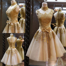 2016 New Prom Dresses Cocktail Pageant Graduation Gown With High Neck Sheer Back Gold Lace Appliqued Organza Short Bow Sash Real Image
