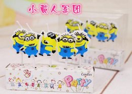 Wholesale 120sets Little Yellow Man Army Cartoon Set Happy Birthday Candles Toothpick Cake Candles Kids Parties Decor