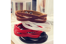 new Hot Sale PU Leather Bracelet handmade woven Bracelet Fashion multy colors Bracelet fashion Wristband Jewelry