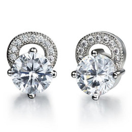 AAA Cubic Zorconia Woman Studs Classical White Platinum Plated Women Earring Jewelry Best Gift For Girls