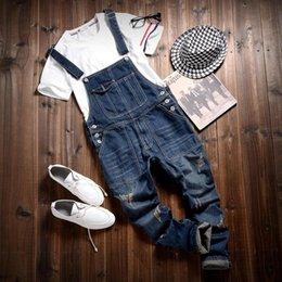 Wholesale Hot Sale Male Cotton Jean Denim Jumpsuit For Men One Piece Mens Bib Overalls Fashion Jumpsuit Salopette Homme Black Blue