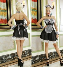Wholesale French Maid uniform Halloween lingerie sex costumes Cosplay A Dosage Dress New Pattern Tube Top Sexy Taste Woman Game Serve latex clothing