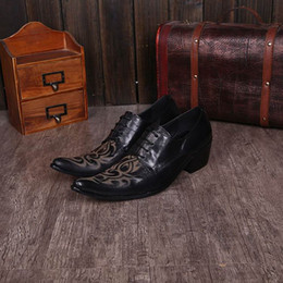 Fashion Carved Mens Pointed Toe Elevator High-Heel Black Dress Shoes For Man Office Work Leisure Leather