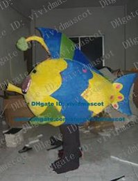 Wholesale Chaste Blue Goldfish Gold Fish Deep Sea Fish Mascot Costume Cartoon Character Mascotte Adult Yellow Face Big Eyes ZZ329 Free Sh