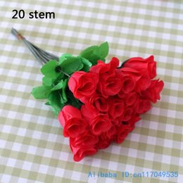 Wholesale low cost interior decoration stem Fake Artificial Red rose Silk Flower Home Party Decoration F209