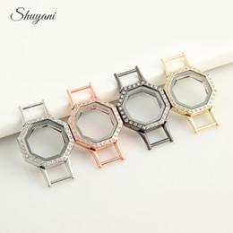 Square Shape Lockets Pendants Bracelet with Crystal for Leather Bracelet Jewelry Living Memory Glass Locket for Bracelet Bangle