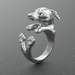 Free shipping 20pcs lot wholesale retro Italy Greyhound Ring free size hippie animal Greyhound dog Ring jewelry for pet lovers