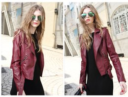 Wholesale Cheap Short Women Lady Leather Jacket Outerwear Coats PU Korean Best Selling Slim Fashion Jackets S XL Size Coat