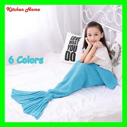 Wholesale 2 Kids Mermaid Tail Blanket Super Soft Hand Children Sofa Blanket Air condition blanket Crocheted Popular Fashion Sleeping Bag