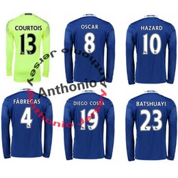 Wholesale long sleeve CHELSEA JERSEY HAZARD FABREGAS OSCAR DIEGO COSTA KANTE PEDRO thai quality soccer jerseys thailand football jerseys kits