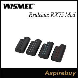 Wismec Reuleaux RX75 75W Box Mod VW Bypass TC-Ni TC-Ti TC-SS TCR Modes 1 18650 Hidden Fire Key Circuit Protection with Amor Mini OLED Screen