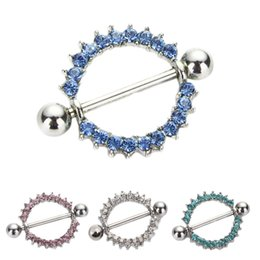 Wholesale 8pcs mixed colors Gem Paved Circle Nipple Shield Piercing Rings Body Piercing G Pair Nipple Piercing Body Jewelry