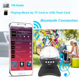 Wholesale Rotating Magic Ball speaker Bluetooth With LED Light Built in Microphone Support USB AUX FM Radio TF Card for KTV Xmas Party DJ Disco