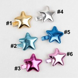 Wholesale Bright stars of PU Material head ornaments Baby barrettes Child Girls star hairpin color