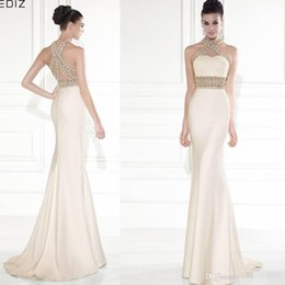 Wholesale Tarik Ediz Mermaid Evening Dresses High Neck Gold Beading Backless Pageant Runway Dress Gowns For Women Prom Dresses