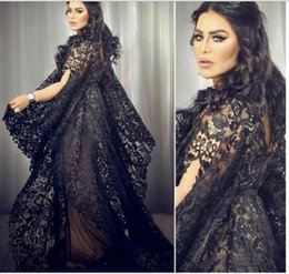 2016 Black Saudi Arabia Evening Dresses A Line Lace Short Sleeve Floor Length Prom Gowns Custom Made