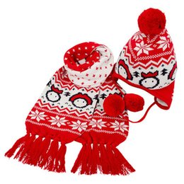 Wholesale 2016 Knitted Winter Warm autumn and winter lovers christmas knitted hat knitted scarf snow scarf two pieces set