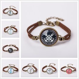 Wholesale Men Women Glass Charm Bracelet Jewelry Fashion Anchor Suede Leather Bracelet Bangles Gift Colors