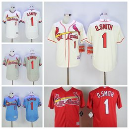 Wholesale Vintage Ozzie Smith Jersey St Louis Cardinals Baseball Jerseys Cooperstown Flexbase Cool Base Pullover White Grey Blue Red Button Cream